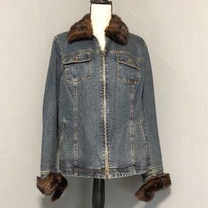 Signature JONES NEW YORK Jean Faux Fur Jacket